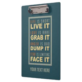 Motivational Life Advice custom clipboard