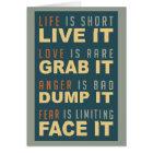 Motivational Life Advice greeting card