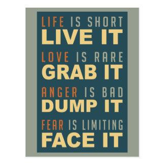 Motivational Life Advice postcard