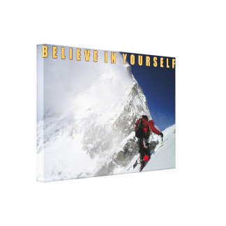 Motivational mountain climber canvas print