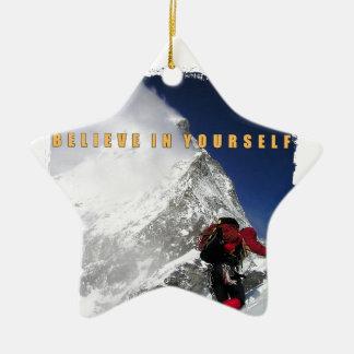 Motivational mountain climber christmas ornament