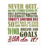 Motivational: Never Quit Postcard