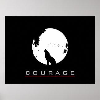 Motivational Pop Art Courage Wolf Poster Print