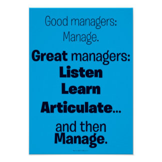 Motivational Poster - Good / Great Managers