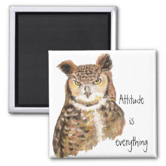 Motivational Quote Attitude is Everything with Owl Magnet
