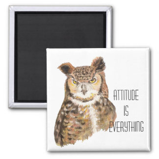 Motivational Quote Attitude is Everything with Owl Square Magnet