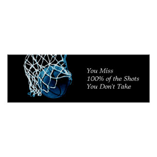 Motivational Quote Basketball Blue Black Poster