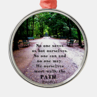 Motivational Quote Buddha inspirational Silver-Colored Round Decoration