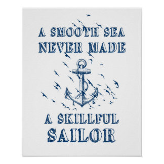 Motivational quote poster Nautical anchor blue