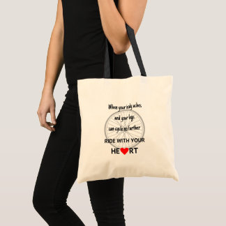 Motivational ride with heart cycling tote bag