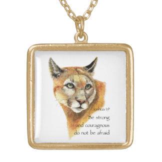 Motivational Scripture Joshua Cougar Animal art Square Pendant Necklace