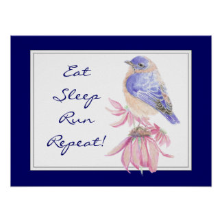 Motivational Sport Quote Bluebird Bird Garden Poster