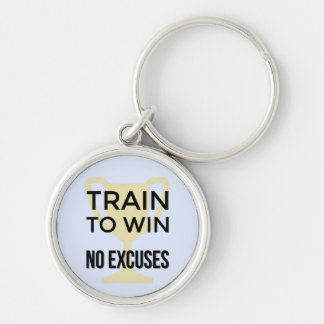 Motivational sports quote train to win Silver-Colored round key ring