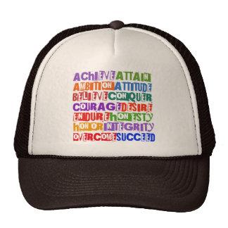 Motivational Text Mesh Hats