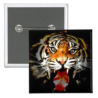 Motivational Tiger Face 15 Cm Square Badge