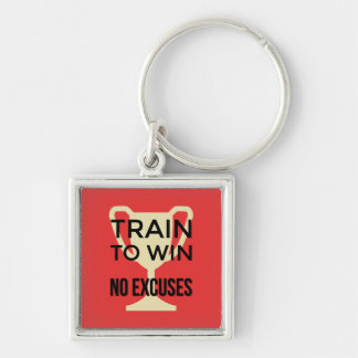 Motivational train to win sports quote Silver-Colored square key ring