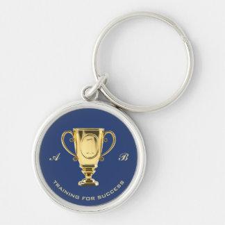 Motivational training for success monogram key ring