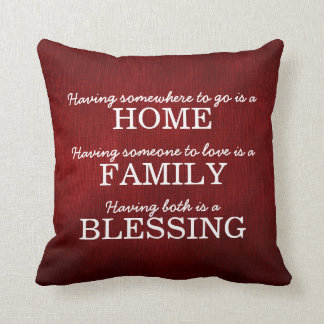 Motivational Typography Family Quote Cushion