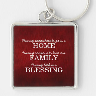 Motivational Typography Family Quote Silver-Colored Square Key Ring