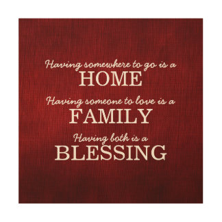 Motivational Typography Family Quote Wood Wall Art