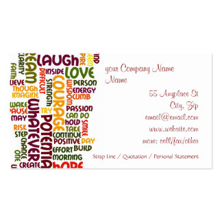 Motivational Words #1 positive encouragement Pack Of Standard Business Cards