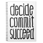 Motivational Words Decide Commit Succeed Notebook