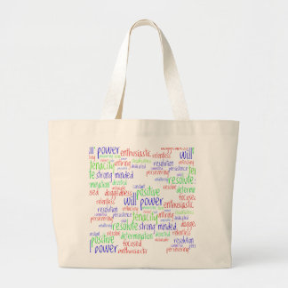 Motivational Words for New Year, Positive Attitude Large Tote Bag