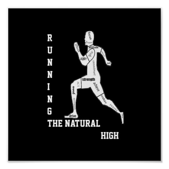 Motivational Words, Running - the Natural High Poster