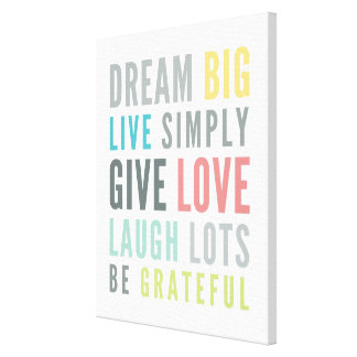 MOTIVATIONAL WORDS TO LOVE BY modern typography Canvas Print