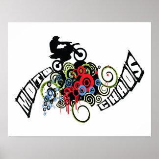 Moto Chaos Dirt Bike Rider Poster