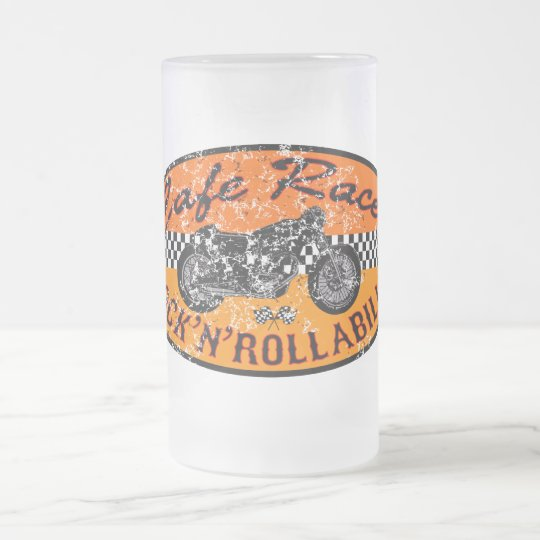 Moto racer frosted glass beer mug