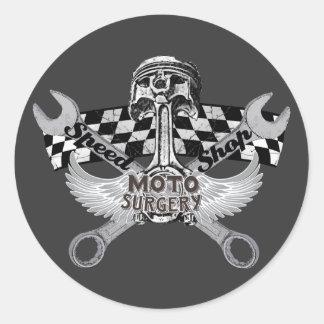 Moto speed shop round sticker