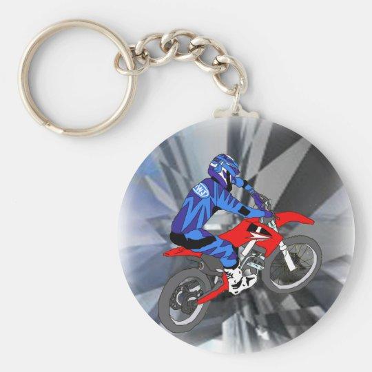 Motocross 204 basic round button key ring