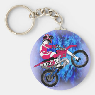 Motocross 306 basic round button key ring