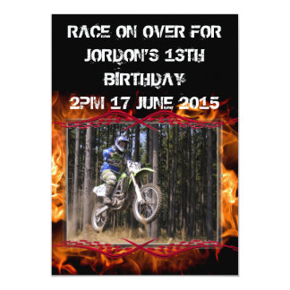 Motocross checkered flags and fire customizable 13 cm x 18 cm invitation card