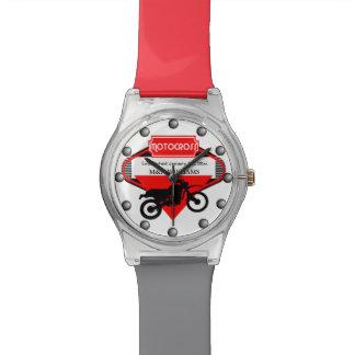 Motocross Dirt Bike Black Red Customize Logo Wrist Watches