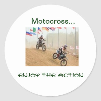 Motocross..., Enjoy the Action Round Sticker