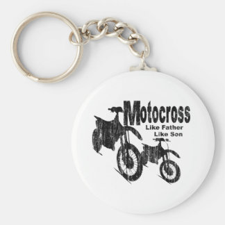 Motocross Father/Son Basic Round Button Key Ring