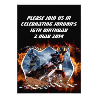 Motocross fire and lightning. personalized announcement