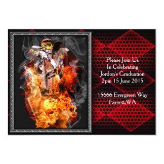 Motocross fire and smoke 13 cm x 18 cm invitation card