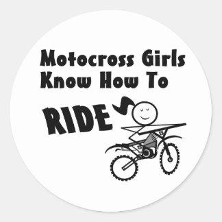 Motocross Girls Classic Round Sticker
