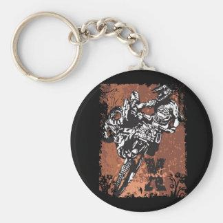 Motocross Grunge Basic Round Button Key Ring