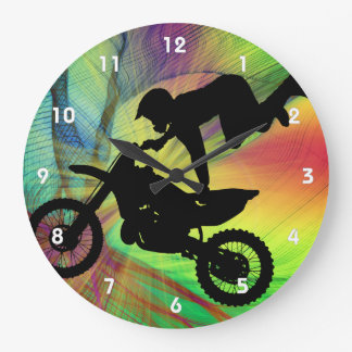 Motocross in Psychedelic Spider Web Large Clock