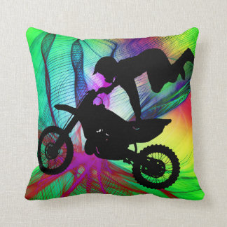 Motocross in Psychedelic Spider Web Throw Pillow
