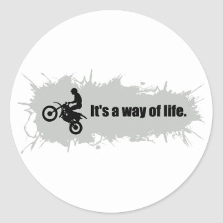 Motocross is a Way of Life Classic Round Sticker