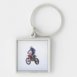 Motocross Jump Silver-Colored Square Key Ring