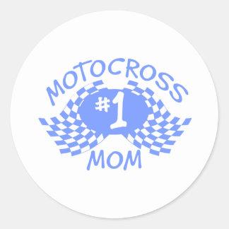 Motocross Mom Classic Round Sticker