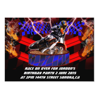 "Motocross mufflers shooting fire 5"" x 7"" invitation card"