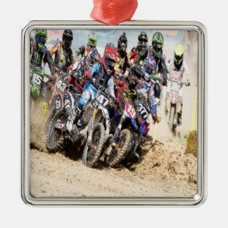 Motocross Racing Silver-Colored Square Decoration