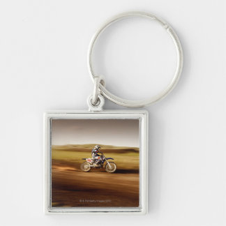 Motocross Rider 2 Silver-Colored Square Key Ring